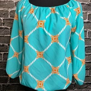 Macbeth Collection Peasant Blouse Sz XS Silky